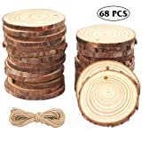 CEWOR Natural Wood Slices 68pcs 2-2.4 Inches Crafts Christmas Ornaments Craft Wood kit Unfinished Predrilled Wooden Circles for Christmas DIY Arts Rustic Wedding Decoration (Color: 68pcs, Tamaño: 1-68pcs(2.0