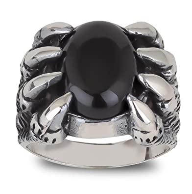 aden' S Antique Jewels - 16.3 g Man - Motorcycle - Biker - Men's Ring - Silver Ring in Silver - One Size - Black Onyx - Dragons Claw 62