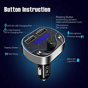 ZINTOU Bluetooth FM Transmitter for car,Wireless Bluetooth Fm Adapter Music Player Car Kit with Charger With Dual USB Charging Ports,Hands-Free Callin