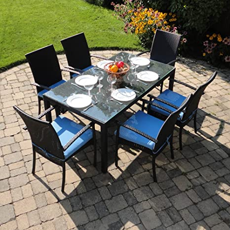 Turks Outdoor Wicker Patio Furniture Dining Set with Clear Glass and Umbrella Hole with Sky Blue Cushions