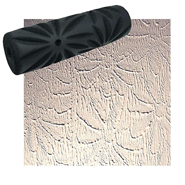 Drywall Texture Pattern Roller for Decorative Paint Texturing (Poinsettia Pattern)