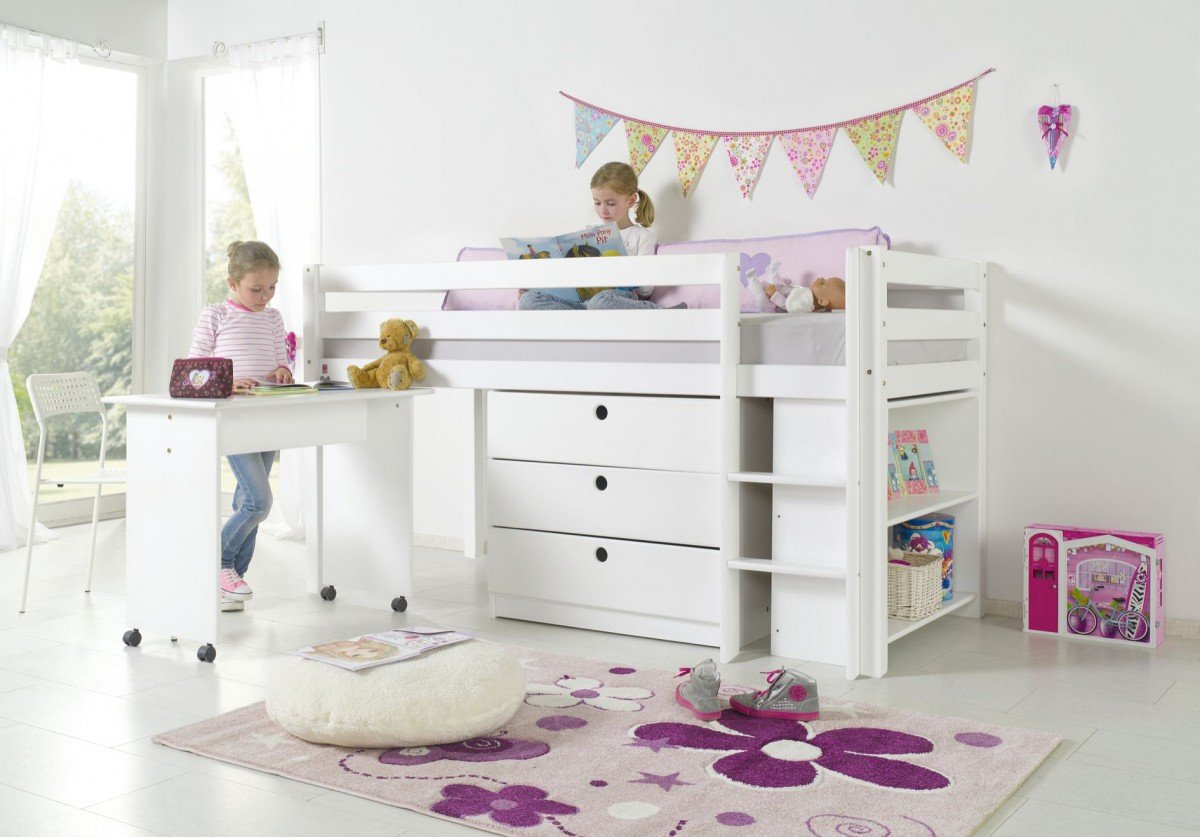 Dreams4Home Kinderbett Hochbett Spielbett Bett 'Filu' weiß 90×200 cm Buche massiv natur lackiert inklusive Regal Kommode und Schreibtisch jetzt kaufen