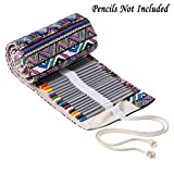 BTSKY Canvas Pencil Roll Wrap 108 Slot-Adult Coloring Pencil Holder Organizer for Colored Pencils, NO Pencils (108 Slots Bohemian) (Color: 108 Slots Bohemian)