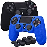 YoRHa Studded Silicone Cover Skin Case for Sony PS4/slim/Pro Dualshock 4 controller x 2(black+blue) With Pro thumb grips x 8 (Color: black&blue, Tamaño: studded pack)