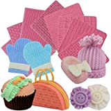 Funshowcase Weave Knitting Silicone Mold Texture Stamp Mat 8-in-Set Bundle for Sugarcraft Cake Border Decoration, Cupcake Topper, Polymer Clay, Soap Wax Making Crafting Projects (Color: Random)