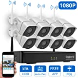 1080P Wireless Security Camera System, Firstrend 8CH Wireless NVR System with 8pcs 1080P HD Security Camera and 3TB Hard Drive Pre-Installed,P2P Wireless Security System for Indoor and Outdoor Use (Color: 8pcs 1080P Cams+8CH 1080P NVR(3TB HDD))