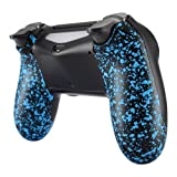 eXtremeRate Textured Blue Bottom Shell, Comfortable Non-Slip Back Housing, 3D Splashing Case Cover, Game Improvement Replacement Parts for PS4 Slim Pro Controller JDM-040, JDM-050 and JDM-055 (Color: Textured Blue)