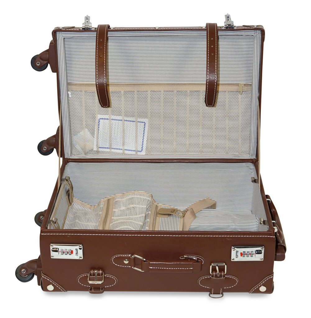 Vintage Trunk Antique Hardside Luggage Suitcase Set of 2 1