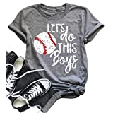 VILOVE Women Let's Do This Boy Baseball Mom Tshirt Casual Letter Print Tops Tee (X-Large) (Color: Gray, Tamaño: X-Large)