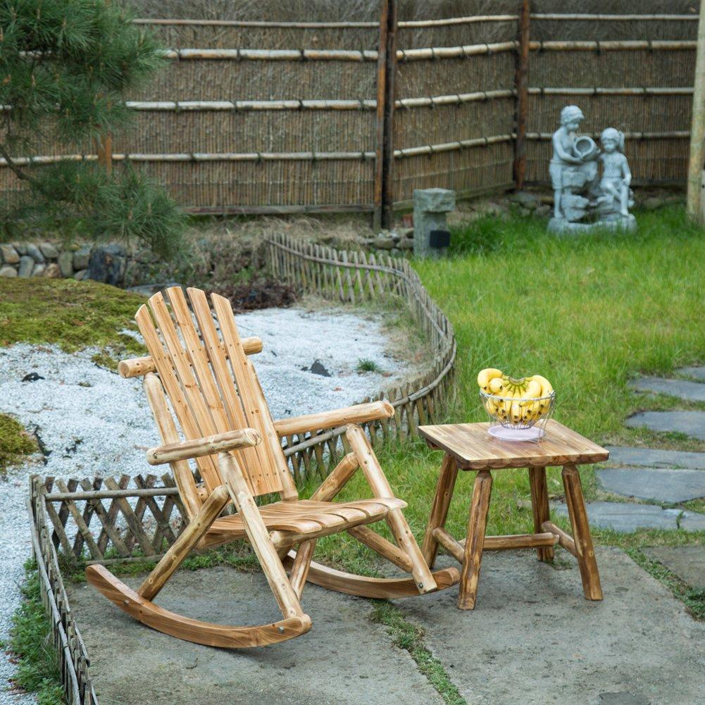 Antique Wood Outdoor Rocking Log Chair Wooden Porch Rustic Log Rocker