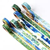 8 Pieces Washi Masking Tape , 8 style of Van Gogh Painting Decorative Adhesive Tapes Scrapbooking Stickers (15mm X 7m, 0.6inch x 7.6 Yard)