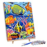 VIGEIYA DIY Paint by Numbers for Adults Include Framed Canvas and Wooden Easel with Brushes and Acrylic Pigment 15.7x19.6inch (Color: Finding nemo, Tamaño: 15.7*19.6in)