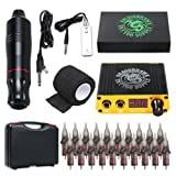 Dragonhawk Cartridge Tattoo Machine Kit Pen Rotary Tattoo Machine Cartridge Needles Power Supply for Tattoo Artists 1013-7 (Atom) (Color: Atom)