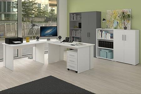 Kleines Buromöbel Set, 6-teiliges Arbeitszimmer, Farbe Weiß