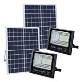 100W Solar Flood Lights Outdoor, JINDIAN 196 LEDs IP67 36000mAH 5m Wire Solar Flood Lights with Remote Control for Sign, Basketball Field, Yard, Garden, Gutter, Pathway Street Area Lighting (2Pack) (Tamaño: 2Pack)