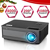 Projector, WiMiUS P18 4000 Lumens LED Projector Support 1080P 200