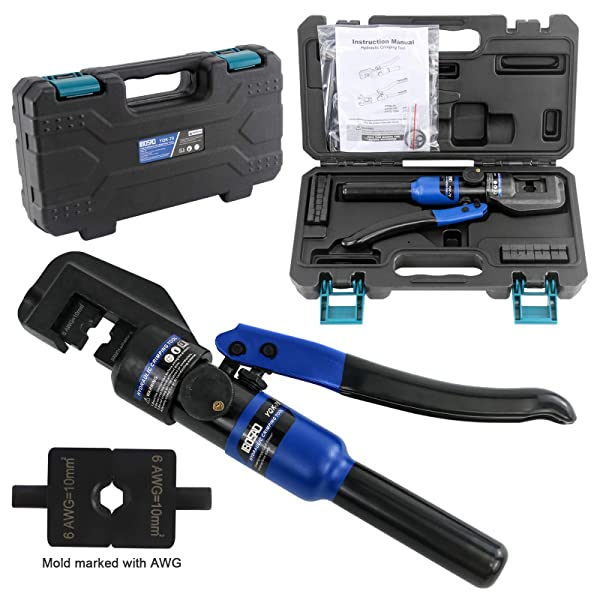 IBOSAD Hydraulic Cable Lug Crimper Tool 12 AWG to 00 (2/0) Electrical Terminal Wire Crimping Plier Kit,Marked with AWG