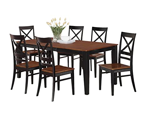 East West Furniture QUIN5-BLK-W 5-Piece Dining Table Set, Black/Cherry Finish