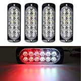 XT AUTO Super Bright Red White 12-LED Car Truck Warning Caution Emergency Construction Waterproof Beacon Flash Caution Strobe Light Bar 4-pack (Color: Red White)
