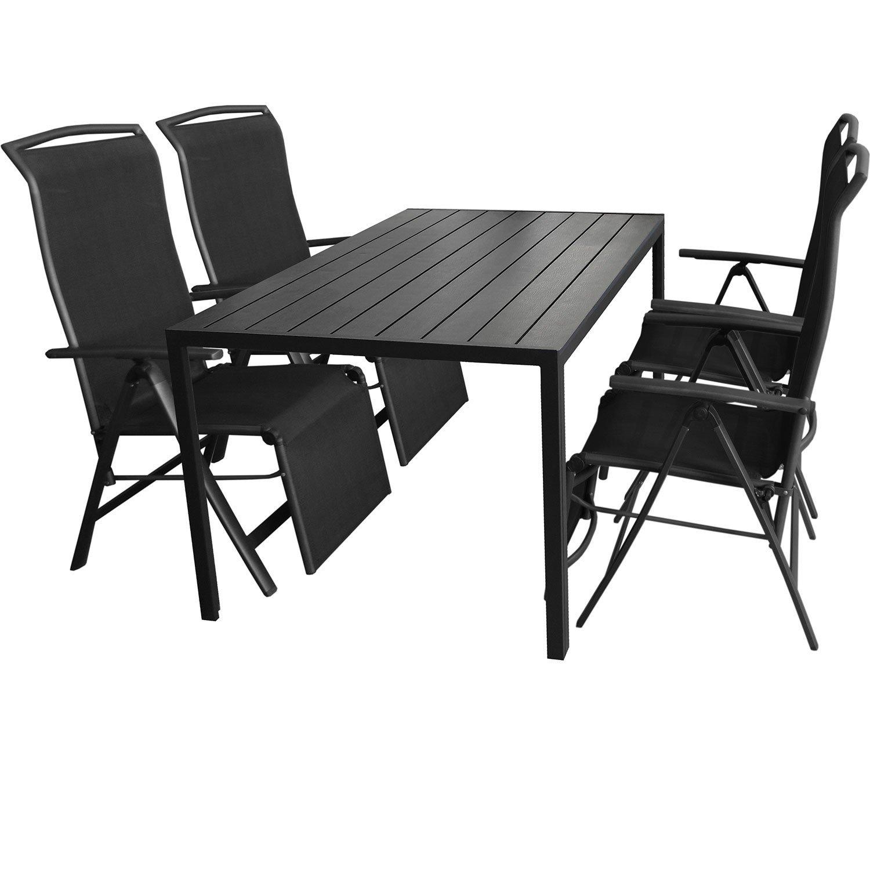 5tlg. Gartengarnitur Aluminium Gartentisch 150x90cm mit Polywood Tischplatte Klappsessel mit 2×1 Textilenbespannung Rücken- und Fußteil um 5 Positionen verstellbar günstig bestellen