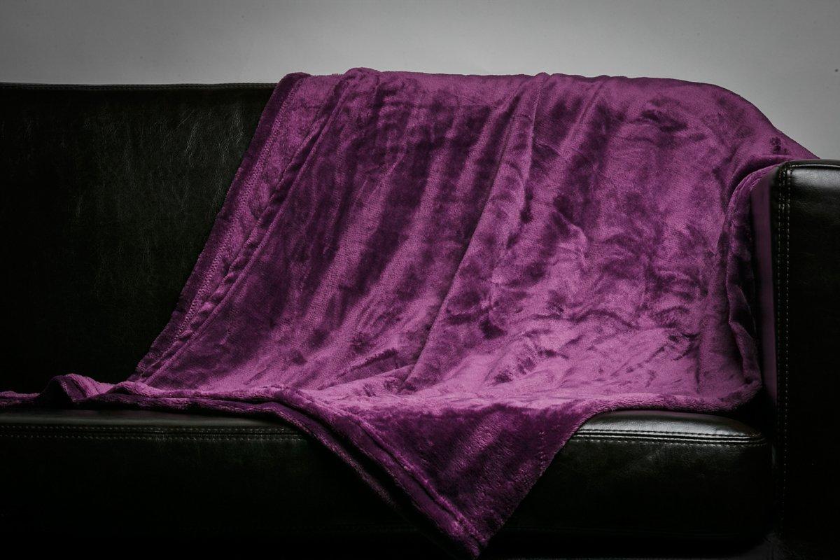 HS Velvet Plush Throw, Home Fleece Throw Blanket,Solid Micro Plush Throw Blanket, 50 by 60-Inch, Ivory