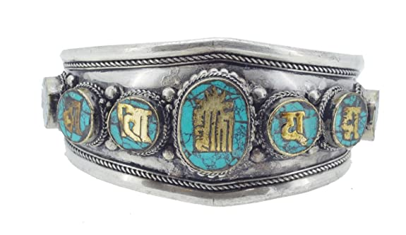 Synthetic Turquoise Inlaid Tibetan Kalachara Mantra Symbol White Metal Bracelet - Arm Cuff Jewelry for Women