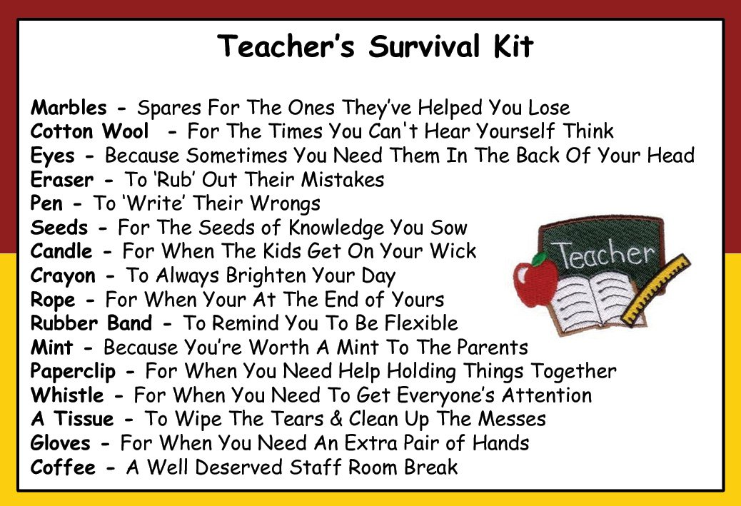 Teacher Survival Kit | Pass It On | Pinterest | Teacher ...