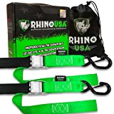 RHINO USA Motorcycle Tie Down Straps (2 Pack) Lab Tested 3,328lb Break Strength, Steel Cambuckle Tiedown Set with Integrated Soft Loops - Better Than a Ratchet Strap. (Color: 2pk Green)