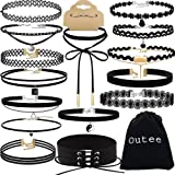 Choker Set, Outee 15 PCS Womens Choker Necklace Set Black Velvet Lace Tattoo Choker Set Girls Stretch Necklace