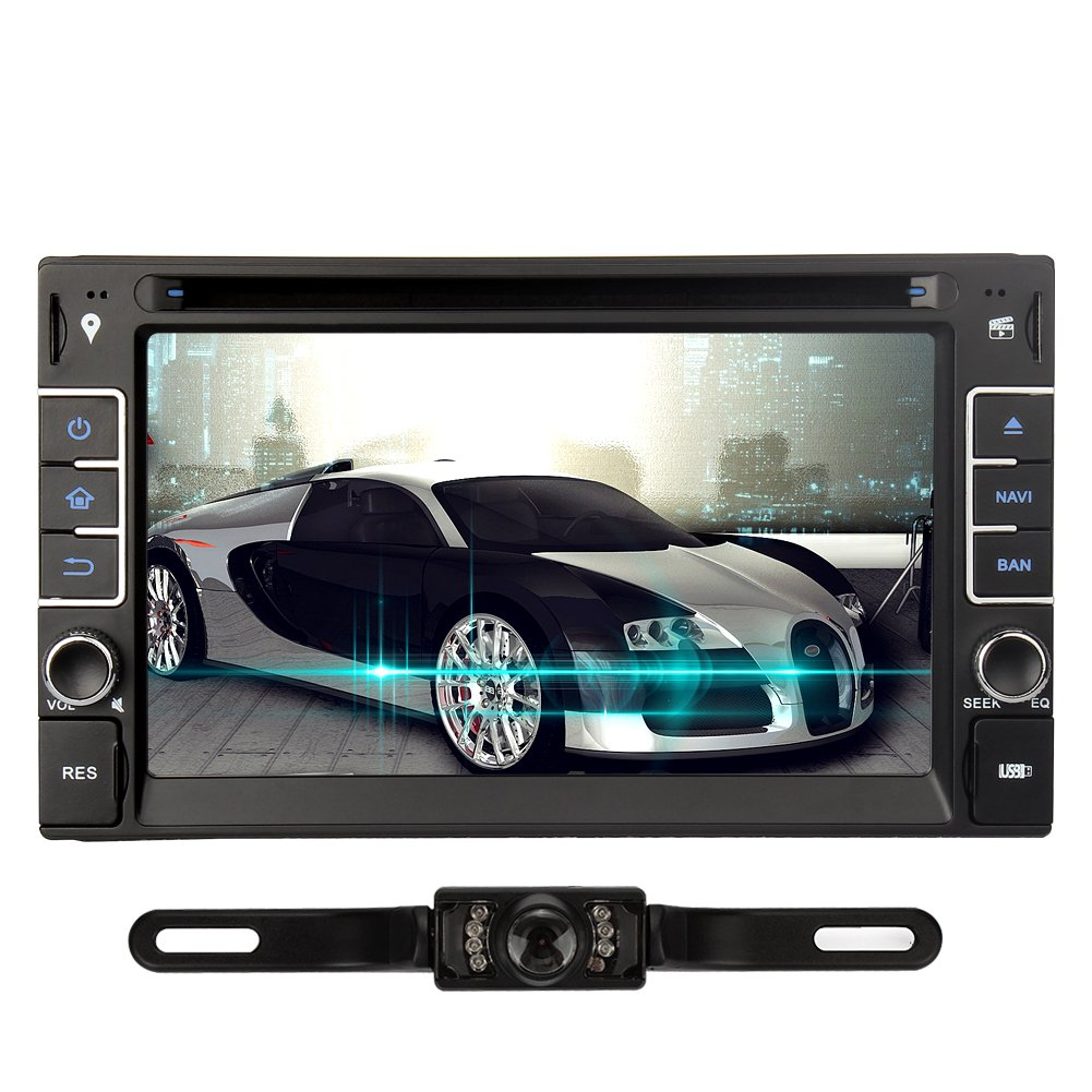 NAVISKAUTO(TM) 6.2 inch Wince 6.0 Double Din in Dash Car DVD Player Stereo Touch Screen GPS Navigation Black (Come with Rear View Camera)