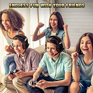 RUNMUS Gaming Headset Xbox One Headset with 7.1 Surround Sound Stereo, PS4 Headset with Noise Canceling Mic & LED Light, Compatible with PC, PS4, Xbox One Controller(Adapter Needed), Nintendo Switch (Color: Red)