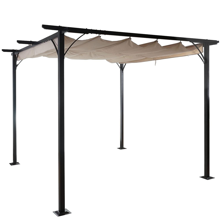 Pergola Avila, Garten Pavillon Terrassenüberdachung, stabiles 6cm-Gestell + Schiebedach 3x3m bestellen