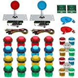 Gamelec 2-Player Arcade Game Colored Buttons and Joysctick Kit with 5 Modes Buttons Lighting for Windows System, Raspberry Pi,Mame,Jamma,PS3,MAC,Linux and Android Video Games