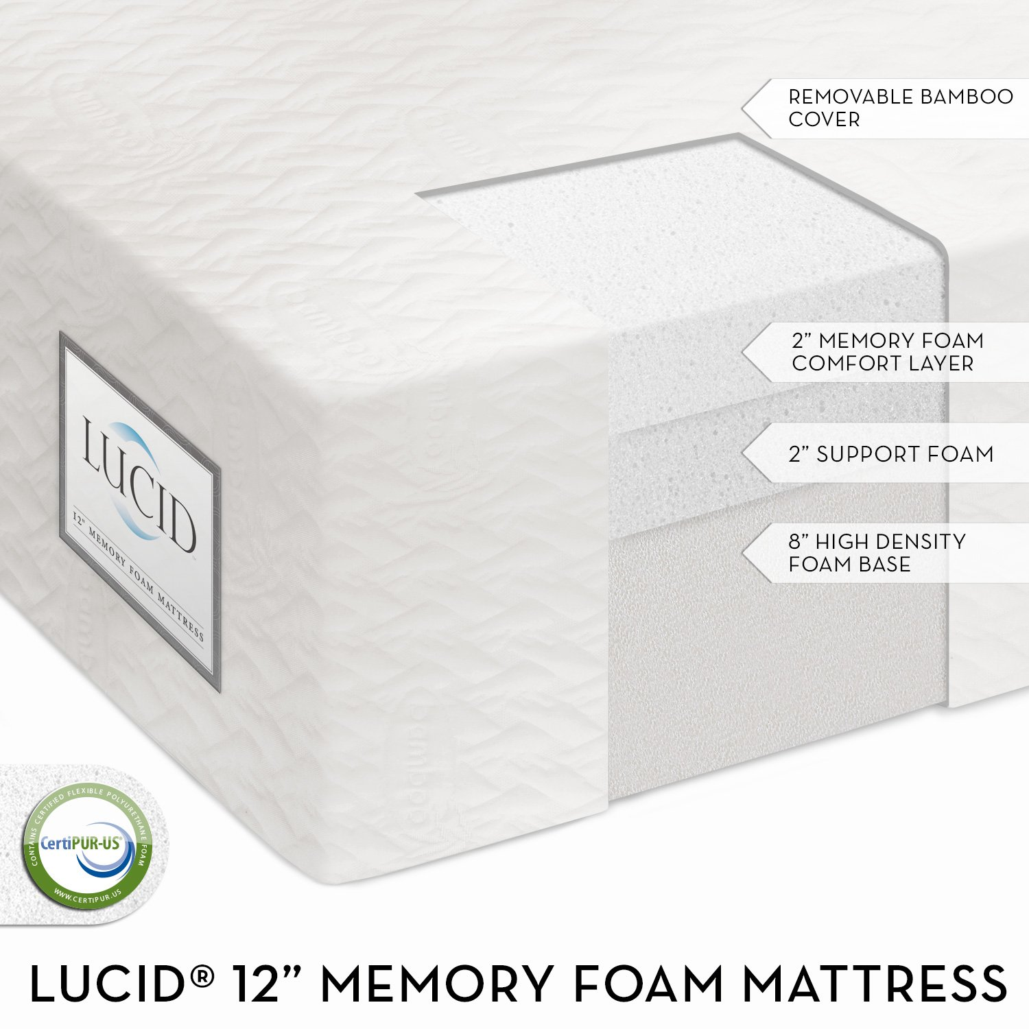 LUCID® by LinenSpa 12″ Plush Triple-Layer Memory Foam Mattress 25-Year Warranty, Queen, $311.99