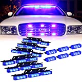 DT MOTO™ Blue 54x LED Volunteer Vehicle Dash Grill Deck Strobe Warning Lights - 1 set (Color: Blue/Blue)