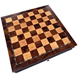 Vada Burl Wood Inlaid Chess Cabinet with Drawer – 13 Inch Set – Board Only, No Pieces (Color: Brown, Tamaño: Medium)