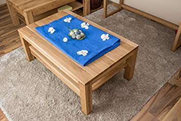 Coffee table Wooden Nature 22, solid wild oak wood, oiled, organic - size W105 x H45 x D65 cm