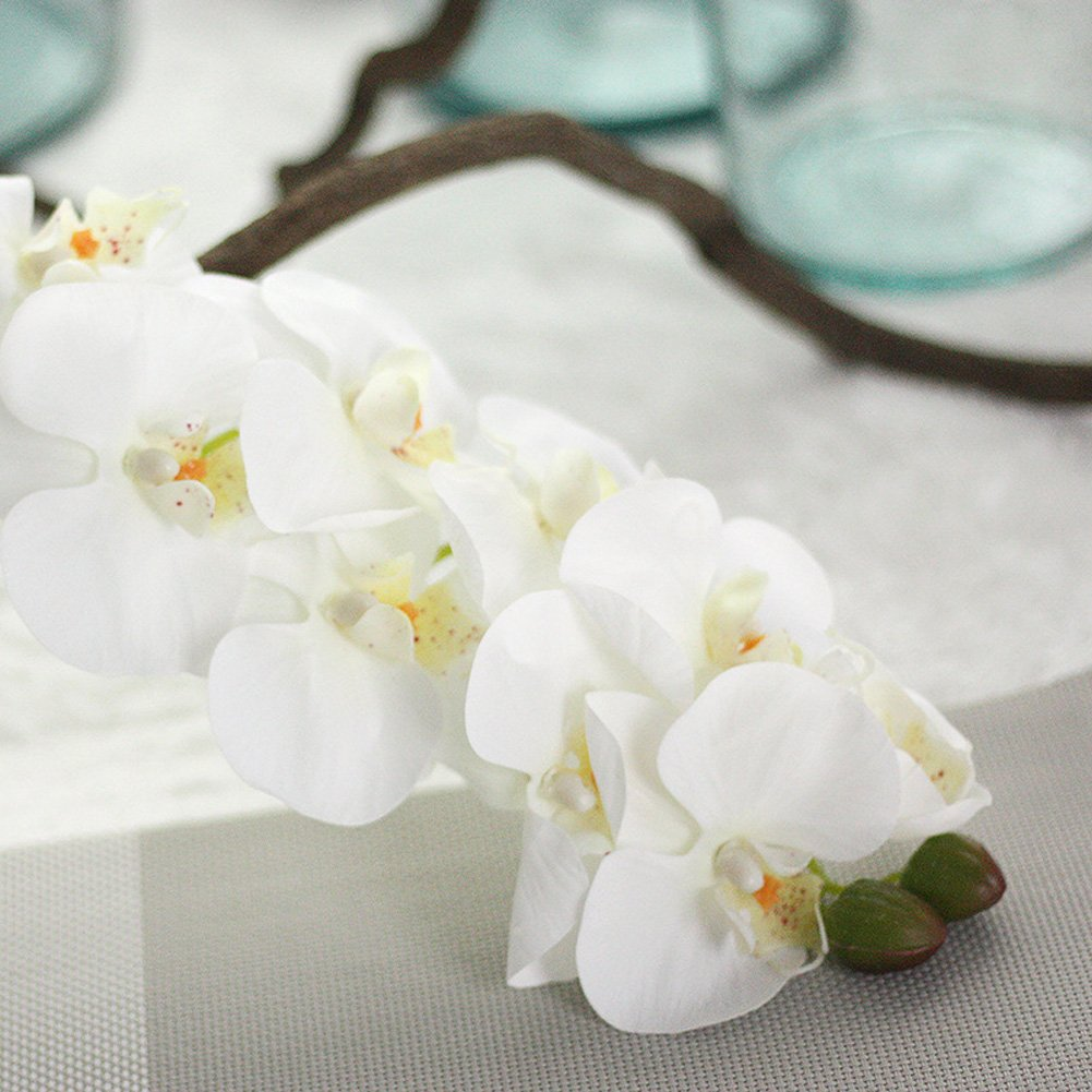 Miracliy 1 Piece Artificial Butterfly Orchid Flower Artificial Flower Plant for Home Decoration, White