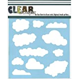 Clear Scraps CSSM6-CLOUD Translucent Plastic Film Stencil, Clouds, 6-Inch x 6-Inch