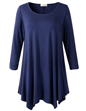 Lanmo Women Plus Size 3/4 Sleeve Tunic Tops Loose Basic Shirt (2X, Navy Blue)