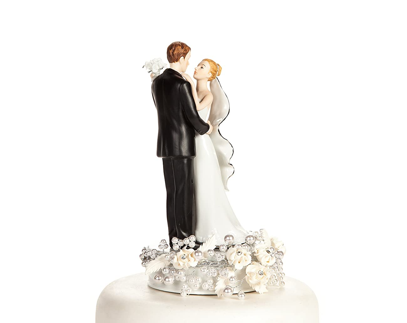 White and Silver Vintage Rose Pearl Wedding Cake Topper: Base Color: White with Silver Wiring 1