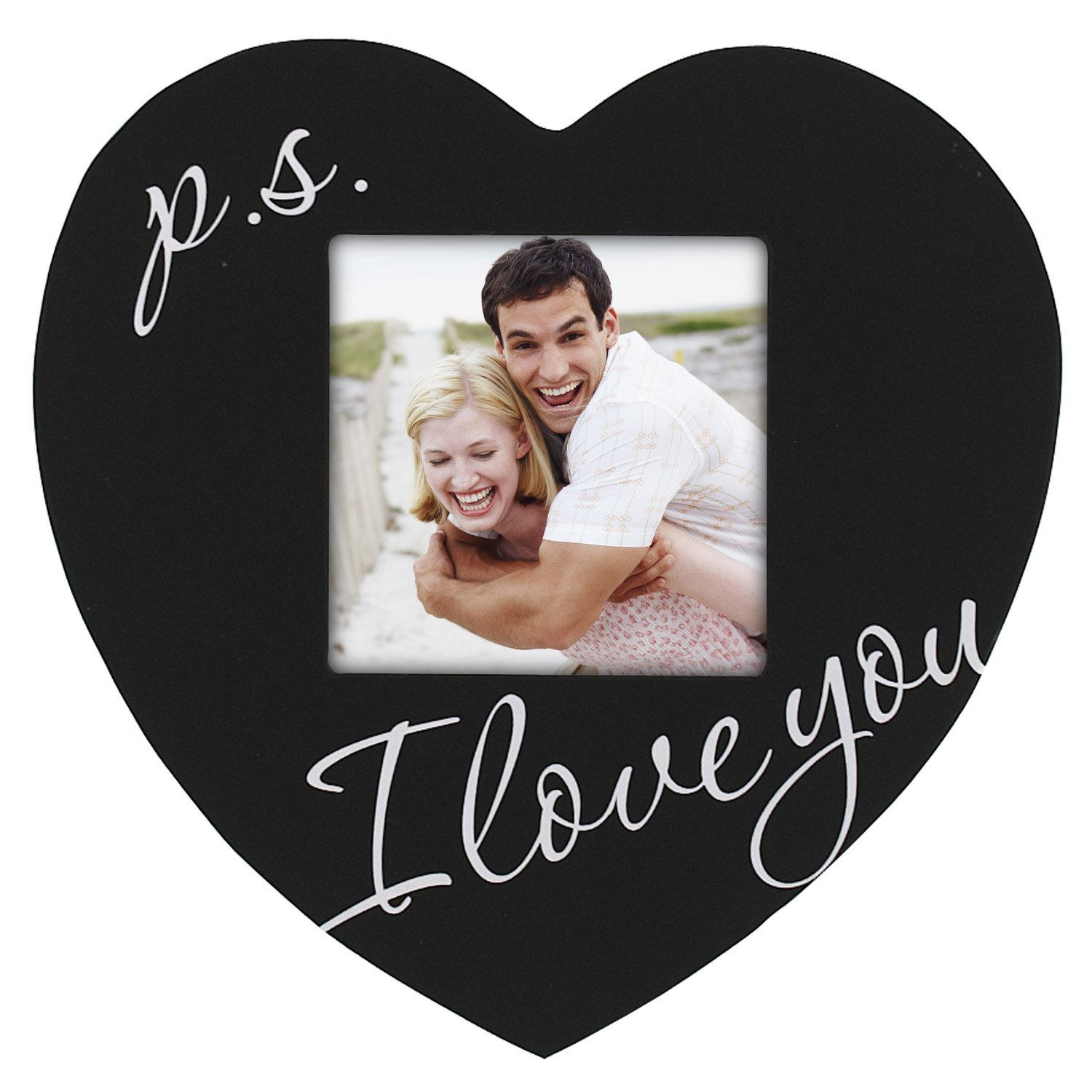 Malden Celebrated Moments Black Wood Heart Picture Frame, P.S. I Love You, 3.5 by 3.5-Inch – Ps I Love You Picture Frame
