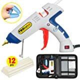 Hot Melt Glue Gun Kit Full Size 100 Watt with Carry Bag and 12 pcs Glue Sticks, for DIY, Arts & Crafts Projects, Sealing, Quick Repairs, Light and Heavy Duty, Home, Office (White/Blue) by PROkleber (Color: White/Blue)