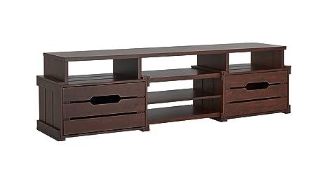 "Furniture of America Feltria TV Stand, Vintage Walnut, 72"""