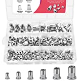 Deedro 304 Stainless Steel Rivet Nuts - 200 Pieces Flat Head Threaded Insert Nutsert Rivetnut Assortment Kit, M3/M4/M5/M6/M8/M10 (Color: Silver, Tamaño: 200 Pieces)