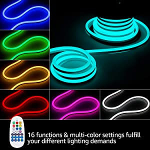 TORCHSTAR 50ft LED RGB Rope Light, 120V Flexible Strip Lights, IP67 Waterproof Neon Lighting, Multi Color Changing with Remote Controller, (100ft Max) Linkable for Indoor & Outdoor Decor, Pack of 2 (Color: RGB, Tamaño: 2 Pack)
