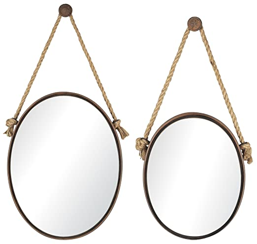 Sterling 53-8503 Iron Holder Mirrors on Rope, Oval, Rust, Set of 2