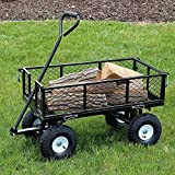 Sunnydaze Black Heavy-Duty Steel Log Cart, 34 Inches Long x 18 Inches Wide, 400 Pound Weight Capacity