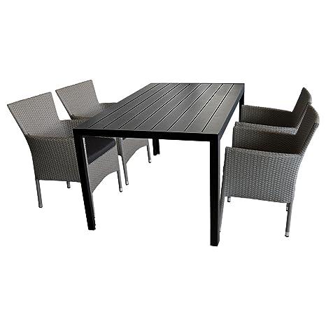 5tlg. Sitzgruppe Gartengarnitur Sitzgarnitur Terrassenmöbel Gartenmöbel Set - Gartentisch, 150x90cm, Polywood-Tischplatte schwarz + 4x Gartensessel, Poly Rattan, stapelbar, grau-meliert, inkl. Kissen
