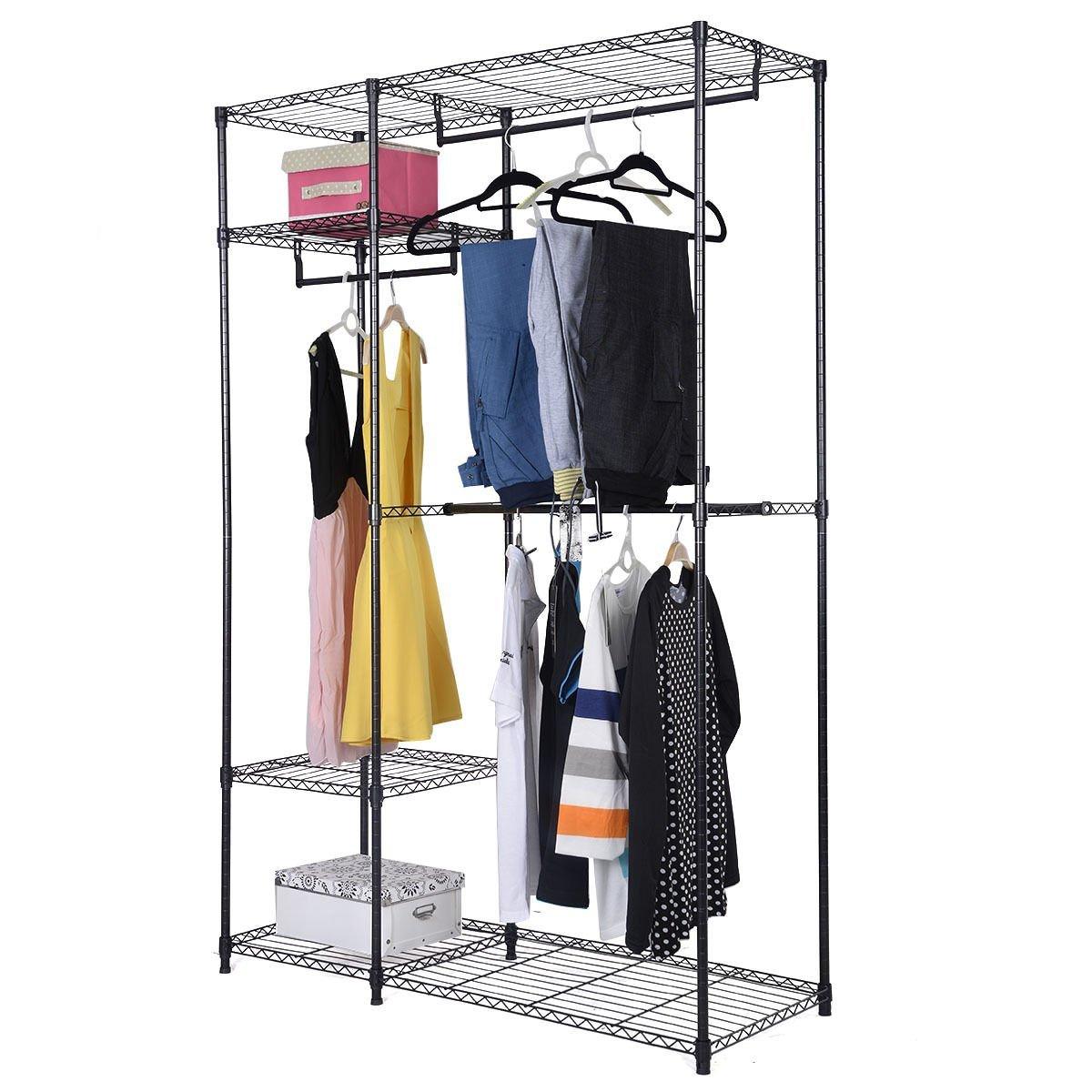 Safstar Portable Clothes Wardrobe Garment Rack Home Closet